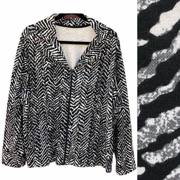Kim Rogers 2X Jacket Zip Up Zebra Animal Black